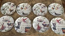 Set of 8 Better Homes And Garden 12 TWELVE DAYS OF CHRISTMAS Salad Plates NWT
