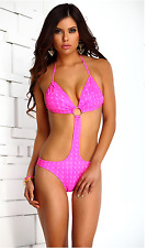 Ibiza Swimsuit Triangle Top Hologram Monokini Pink Bathing Suit Forplay L 10-12