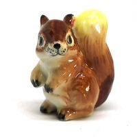 Collectible Ceramic Brown Squirrel Figurine Hand Painted Miniature Porcelain