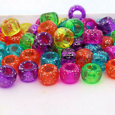 100 Jelly Glitter Pony Beads Green Pink Yellow Blue Loom Band Dummy Clips Hair