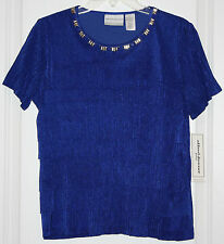 NWT Alfred Dunner Keep It Modern Top W/ Beaded Accents - PS