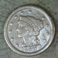 1850 BARBER ONE CENT--UNITED STATES OF AMERICA--BRAIDED HAIR LARGE CENT