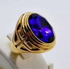 Cross Stainless Steel Gold Size 9 c Men Ring Oval Blue Sapphire Knight Templar