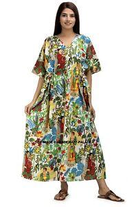 Indian Cotton Frida Kahlo Printed Long Kaftan Dress Kimono Sleepwear Caftan