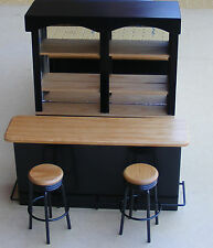 1:12 Scale 4 Piece Black Bar Set Dolls House Miniature Pub Furniture Accessory