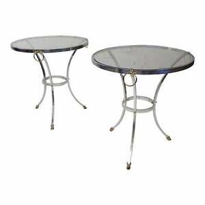 Mid-Century Modern Glass Top Chrome Gueridon Side Tables w/Brass Hoof Feet Pair