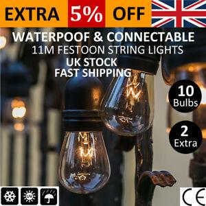 6 pack 11M S14 Bulb Black Cable Festoon String Lights Garden Outdoor Fence Decor