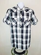 EIGHTY EIGHT Mens Black White Plaid Snap Front Short Sleeve Cotton Shirt Size L