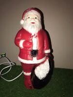 "Vintage 12"" Christmas Dapol Lighted Blow Mold Santa Table Decoration"