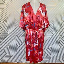 MINKPINK Brews on the Balcony Robe in Pink Red Floral Kimono Satiny Size M/L