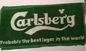 Carlsberg Lager Beer Bar Towel Green Pub Home Bar Man Cave Unused NEW