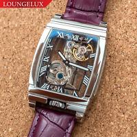 Mens Silver Bridge Manual Mechanical Watch - Purple Leather DIASTERIA 1688B