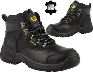 Mens Ankle Work Safety Boots Steel Toe Cap Leather Lace Up Work Boot Hiker Shoes