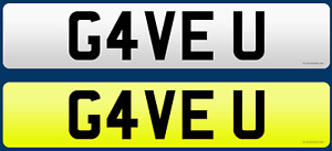"""GAVE YOU!!  Number Plate """"G4VE U"""" Private Number Plate"""
