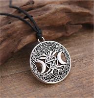 Triple Moon Goddess Pentagram Pendant Necklace - Pagan, Wiccan - UK Stock
