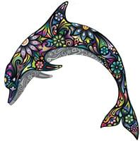 sticker decal car kitchen room dolphin flower rainbow colored