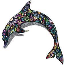 sticker decal car laptop macbook kitchen room dolphin flower rainbow colored