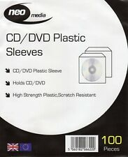 100 x Neo Media CD DVD Disk Plastic Disc Sleeves Scratch Proof High Strength