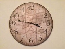 Large Antique Vintage StyleWall Clock. 60cm. Shabby Chic World Map Pattern.