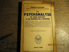 La psychanalyse et son apport à la science de l'homme D'ASTER 1951