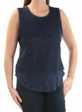 Maison Jules Womens Size Large Lace Floral Sleeveless Jewel Neck Top Blue 334