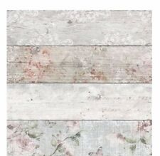 Wood Plank Unique Panel Wallpaper Floral Vintage Country White Modern Pink Grey