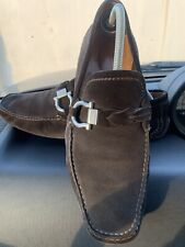 $695 Authentic Salvatore Ferragamo Made in ITALY D.Brown Suede Loafers Sz.9.5 FS