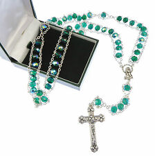Catholic large extra strong emerald green iridescent ladder rosary beads