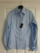 T.M.LEWIN SMART TAILORED PALE BLUE HERRINGBONE STRIPE FITTED ROYAL COTTON SHIRT