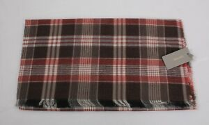 NWT Authentic Tom Ford Scarf Maroon & Red White Plaid Cotton Cashmere #TF899
