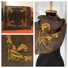 """Handmade Crafted Brown Linen Orange Cross Stitch Scarf Table Topper 32 x 31"""""""