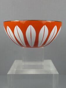 "Fab Vintage Mid Century Modern Cathrineholm Orange Lotus Enamelware Bowl 5 1/2"""