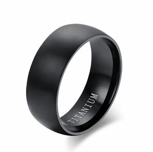 8MM Men's Black Titanium Steel Ring Wedding Engagement Anniversary Band Size6-14