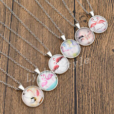 Flamingo Lotus Fairyland Glass Cabochon Necklace Pendant Long Chain Jewelry Gift