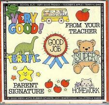 Hero Arts SCHOOL TEACHER MOTIVATIONAL Wood Mounted Stamps LL118