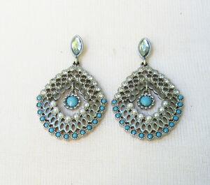 Lia Sophia Jewelry Fan Fare Blue Beads Pierced Earrings in Silver RV$48