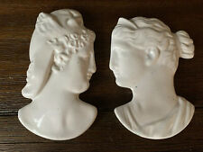 Set Of 2 Vintage Chalkware Woman's Face Wall Plaque Greek Egyptian Signed 73'