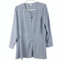 J.Jill Women's Size L Blue Striped Tunic Shirt Top Lagenlook