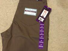 Gloria Vanderbilt Women Smoked Taupe Rail Straight-Leg Midrise Jeans Size 14 NWT
