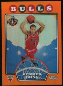 2008 Topps Chrome Orange Refractor #181 Derrick Rose Bulls RC Rookie /499