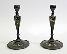 Pair of Antique English Handpainted Black Lacquer Candlesticks United Kingdom