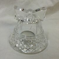 "Clear Glass Bell Shaped Tealight Candle Holder Ribbon 4"" Tall Decorative Votive"