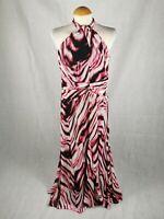 Ladies Dress Size 14 SOUTH Pink Maxi Chiffon Halter Neck Party Evening Wedding
