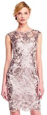 Adrianna Papell Sequin Floral Lace Dress with Embroidered Sheath, New with Tag