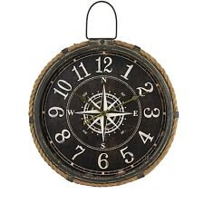 LARGE ROUND VINTAGE BLACK NAUTICAL COMPASS WALL CLOCK - Dimensions 58.5cm