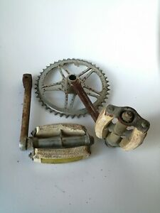 Pédalier Complet 44 Dents Vélo Ancien 1960 1970 Bici Epoca Altes Fahrrad
