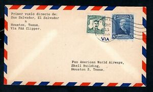 El Salvador - 1946 Pan American First Flight Airmail Cover to Houston, Texas