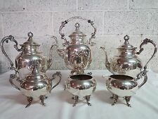 GORGEOUS SHERIDAN 6 PCE SILVER ON COPPER TEA SET- STUNNING!