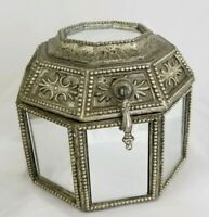 """Vintage Mirrored Wood Octagon Shaped Jewelry Trinket Box Moroccan 6 1/4"""""""