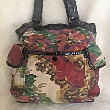❤️ LUCKY BRAND Floral Tapestry Black Patent Leather Hobo Handbag Purse #9